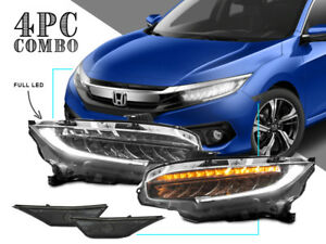 Usa Combo Type R Full Led Headlight smoke Side Marker For 2016 2018 Honda Civic