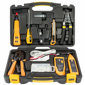 Network Installation Tool Kit Home Professional Electrician Lan Tester 15 Pc Set