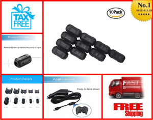 10 pack Ring Core Ferrite Bead Choke Coil Clamp Rfi Cable Clip Noise Filter