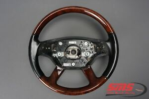 07 09 Mercedes W221 S600 S550 Black Wood Steering Wheel With Shift Buttons Oem