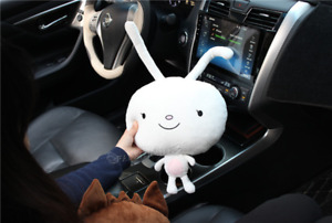 2pcs Cute Rabbit Face Plush Car Head Neck Rest Pillow One Pair