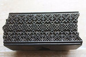 Antique Traditional Hand Carved Wooden Textile fabric wallpaper Print Block 197