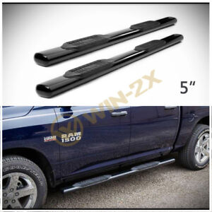 2pcs 5 Oval Blk Side Step Nerf Bars Fit 09 18 Dodge Ram 1500 Quad Extended Cab