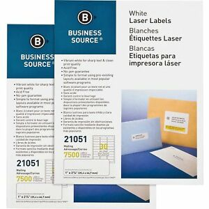 Business Source Mailing Labels Laser inkjet 1 x2 5 8 15000 ct White 21051ct