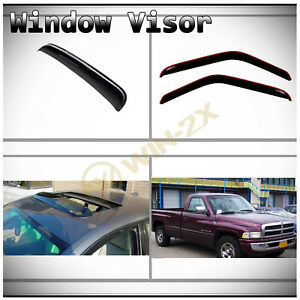 3pcs Front In channel Vent Shade Window sun moon Roof Visors Fit 94 01 02 Ram