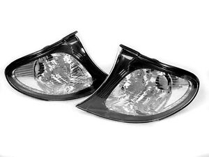 Depo Euro Style Black Clear Corner Signal Light Pair For 02 05 Bmw E46 4d 5d