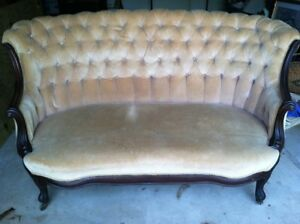 Tufted Antique Victorian Velvet Sofa Loveseat Settee Handcarved Walnut Local P