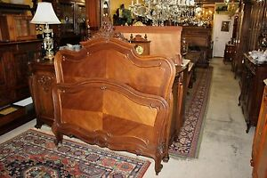 Antique French Walnut Louis Xv Full Or Queen Size Panel Bed Bedroom Furniture