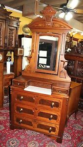 American Victorian Antique Mahogany Dresser Chest Of Drawer Vanity With Mirror