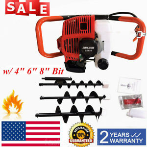 52cc Gas Powered Earth Auger Post Fence Hole Digger With 3bits extension Bar Ups