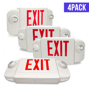 4 Pack Etoplighting Emergency Lights Exit Sign Red Letters Backup Battery Ul924