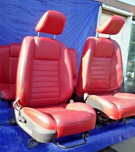 2006 Ford Mustang Driver Passenger Front And Rear Seat Set Red Leather Oem