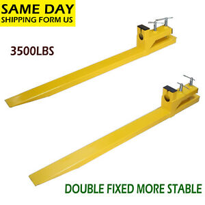 Clamp On 3500lbs Capacity Pallet Forks Loader Bucket Skidsteer Tractor Chain 59