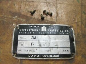 Farmall Super M Tractor Serial Number Tag Plate