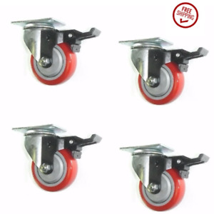 Set Of 4 Plate Swivel Casters With 4 Red On Gray Poly Wheel Tech Lock Brake