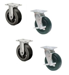 Set Of 4 Rubber Mold on Steel Casters With 6 X 2 Wheels 2 Rigid