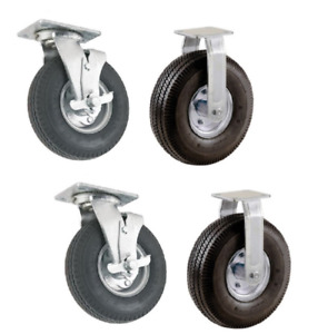 4 New Casters With 8 Pneumatic Air Tires 2 Swivel With Brake 2 Rigid Casters