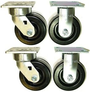 4 Heavy Duty Albion Phenolic Casters With 5 X 2 Wheels 2 Rigid