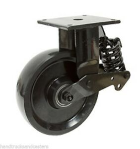 Shock Absorbing Rigid Plate Caster With 8 X 2 1 2 Polyurethane Wheel 2000 Cap
