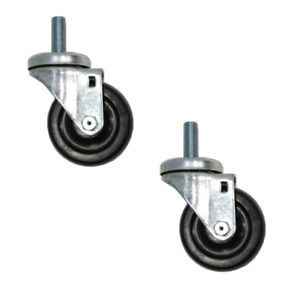 clearance Two Swivel Casters 3 1 2 Rubber Wheel With 5 8 Threaded Stem