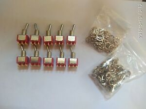 Lot Of 10 Salecom T80 T Red 6 Pin On Maintained 2 Position Toggle Switch