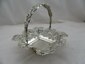 925 Sterling Silver Candy Nut Dish Basket With Handle Used