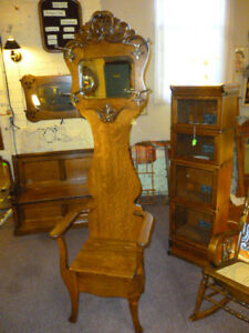 Antique Oak Hall Seat Stand Rack Tree Coat Hat 1900 S Refinished Mirror Clear