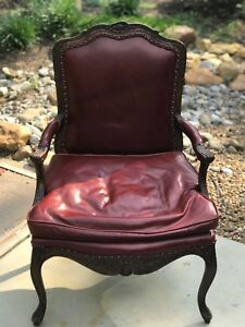Victorian Style Antique Red Leather Chair Office Lobby Lawyer Banker