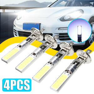 4x Car H1 Cob Led Headlight Hi Lo Beam Drl Driving Light Lamp Bulb White 6000k