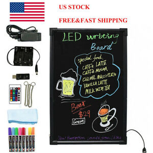 28 X 20 Illuminated Erasable Neon Flashing Led Writing Message Board 7 Colors