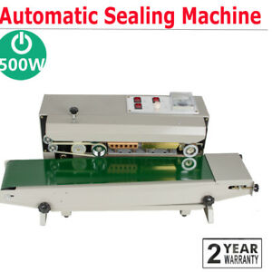 Us Stock Automatic Horizontal Continuous Plastic Bag Band Sealing Sealer Machine