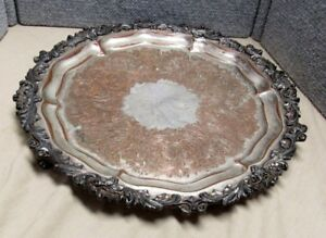 Old Footed Csc Sheffield Plate Silverplate 15 1 2 Tray Ornate Border Grapes