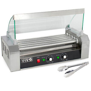 Vivo Electric 12 Hot Dog Five 5 Roller Grill Cooker Warmer Machine And Cover