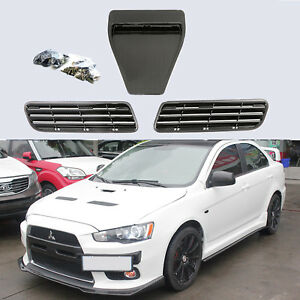 Carbon Fiber Twill Hood Scoop Intake Vent Cover For 08 15 Lancer Gts Evo 10x Gsr