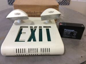 Exit Sign W Emergency Dual Head Lamps Wth Panasonic Rechargeable Battery