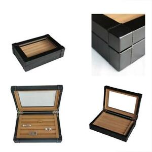 Jewelry Boxes Black Leatherette Cufflink Case Ring Storage Organizer Men s For