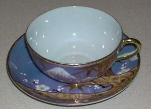 Unbranded Hand Painted China Cup Saucer Asian Mountain Theme Japan