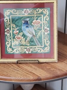 Gold Framed Vintage Chin Jap Silk Embroidery Blue Bird Flowers On Green Silk