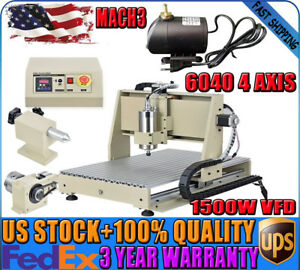 4 Axis Cnc Router 6040 1500w Spindle Engraver Engraving Milling Machine Mach3