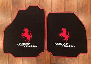 Ferrari 458 Italia Custom Car Floor Mats Red Horse Logo And Red Edging Carpet