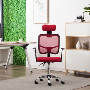 Modern Mesh Chair High Back Executive With Headrest Red Swivel Adjustable Office