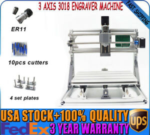 Mini 3 Axis 3018 Diy Cnc Laser Machine Pcb Milling Wood Router Engraver Printer