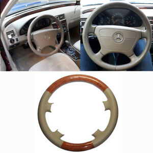 Tan Leather Brown Wood Steering Wheel Cover Benz W210 E Class 95 99 W202 C C280