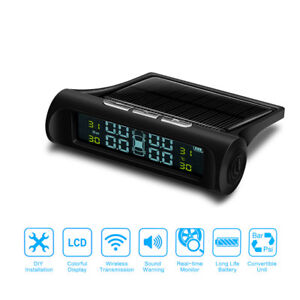 Car Tpms Tire Tyre Pressure Alarm Monitoring System Lcd Solar Power