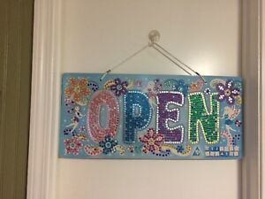 The Orb Factory Sticky Mosaics Open Closed Boutique Hanging Sign Bling Vgc