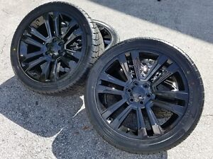 22 Gmc Denali Black Wheels Tire Package Rims 2019 Yukon Sierra Silverado Tahoe