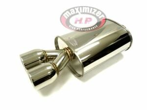 Maximizer Stainless Steel Universal Dual Round Tip 2 5 Inlet Mx016 Muffler