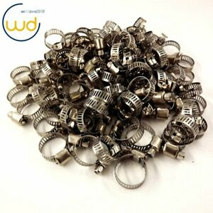 100pcs 1 2 3 4 Adjustable Stainless Steel Drive Hose Clamps Fuel Line Worm Usa