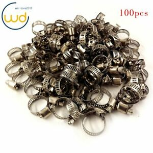 100 Pcs 3 4 1 stainless Steel Adjustable Drive Hose Clamps Fuel Line Worm Clips