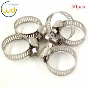 Stainless Steel Adjustable Drive Hose Clamps Fuel Line Worm Clips 3 4 1 50pcs